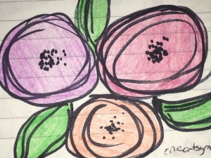 Flowers drawn from technique learned at oneartsymama.com